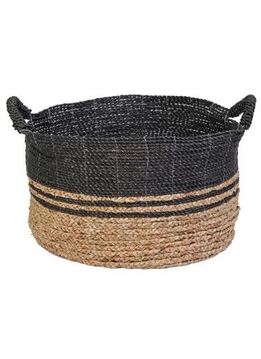 Kanca Ev Mendong Hasır, Siyah-Natürel Örme Sepet, Büyük Siyah